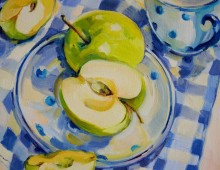 Green Apples on Blue